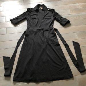 DVF black wool wrap dress 4